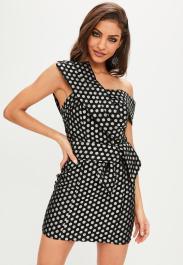 robe-courte-noire-asymtrique--pois